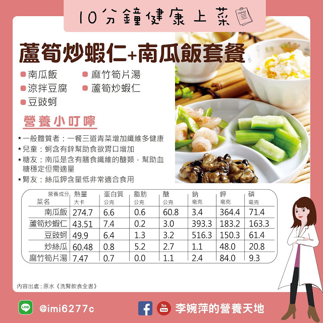 20191228 婉萍老師 10分鐘上菜 洗腎食譜 蘆荀炒蝦仁南瓜飯套餐 01